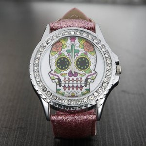 Popular Fashion women's Girl's skeleton skull style dial Leather strap quartz wrist watch