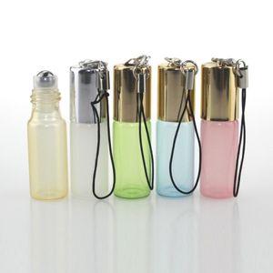 5 ML Roll On Bottle Anhänger Perlglanz Farbe Rollon Metall Roller Ball Flasche Ätherisches Öl Flüssiger Duft Schlüsselanhänger