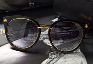 новый год сбора винограда Chrome sunglasse мужчин дизайн в стиле стимпанк круглые очки ясно рама ретро нью-йоркского дизайнера приходят с футляром