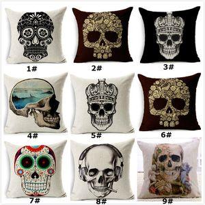 "Retro linen cushion case white black skull sketch cushhion cover throw pillowcase 18"" for home decor sofa bed car and office 10pcs lot"