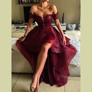 Темно-бордовый с плеча топ кружева высокая низкая платья выпускного вечера бордовый органзы кружева вечернее платье платья халат де вечер