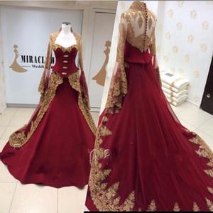 Wunderschöne Gold Spitze Appliqued Burgund Abendkleider mit langen Ärmeln Nahen Osten Dubai Arabia Prom Kleider Vestido de Festa
