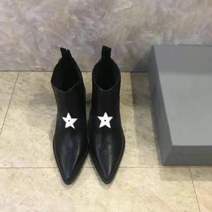 Luxe Mode Femmes cheville étoile talon haut plateforme Chevalier en cuir de vache Pointu Toes Taille Boot 35-40