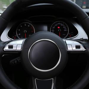 인테리어 액세서리 데칼 아우디 Q3 Q5 A7 A3 A4 A5 A6 S3 S5 S6 S7 스타일링 6PCS 자동차 스티어링 휠의 버튼 장식 조각 크롬 ABS