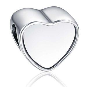 Lega di perline foto cuore personalizzato in bianco Ciondolo in metallo Big Hole Charms europeo adatto al bracciale Pandora Chamilia Biagi