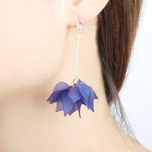 New Personality Multilayer Petals Flower Orecchini a goccia per le donne Gioielli Moda acrilico Lotus lungo Nappa Ciondola l'orecchino