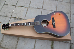 Venta al por mayor de guitarra hecha a mano, guitarra eléctrica acústica acústica, estilo clásico de 41 pulgadas, color de madera, 6 cuerdas a medida, 160E, color vintage Sunburst