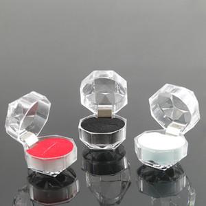 2020 nova transparente de acrílico Engagement Ring Box jóias mostrar Ear armazenamento caso Anel Valentine Casamento Para Studs Presente do dia Organizer