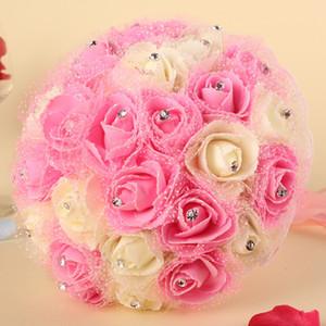 Tatlı Pembe Düğün Bonquet Elmas Taklidi Bonquet de evlilik Yapay Gül Çiçek Gelin Bonet Inci Ipek Kurdele Bunch Bonquet