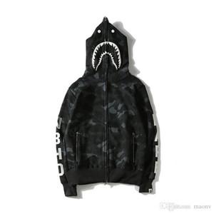 새로운 도착 상어 입 인쇄 블랙 후드 남자 여자 카디 건 힙합 양 털 후드 스포츠 Streetwear 스웨터 크기 M-XXL