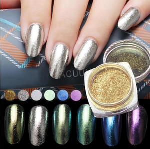 Espejo brillante Brillo de uñas Polvo Polvo DIY Nail Art Lentejuelas Cromo Pigmento Decoración 6 colores Polvo láser opcional