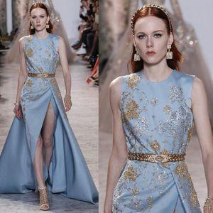 Elie Saab Overskirt Prom Dresses Long Jewel Neck Split Side Beaded Mermaid Evening Gowns Sweep Train Light Sky Blue Formal Dress