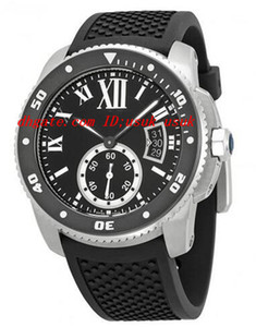 أعلى جودة الفاخرة ساعة اليد عيار دي أسود الطلب المطاط الرجال ووتش 42 ملليمتر التلقائي رجل ووتش الساعات