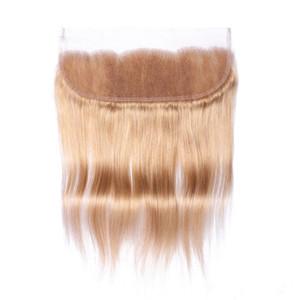 Свободный средний 3-полосная часть мед блондинка 13x4 кружева фронтальная закрытие прямо #27 светлые индийские человеческие волосы полный кружева фронтальная