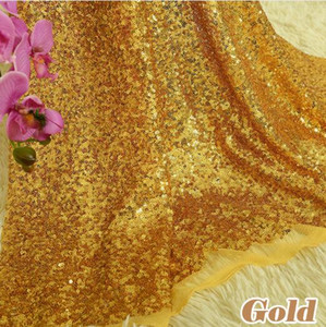 1 Yard Premium Sparkly Embroidery Mesh Lace Sequin Fabric 3mm Glitter Gold Sequins Cloth Fabric For Clothes Events Christmas Decoration