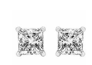 Boucles d'oreille de taille princesse de diamants d'eau de 3,5 ct or blanc véritable de 14 k avec vis arrière