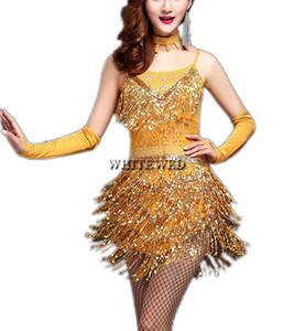 Gatsby Flapper 1920's Era Tema Retro Style Fringe Dance Party Competition Fancy Outfit Costumi Abiti da cerimonia Abbigliamento per adulti