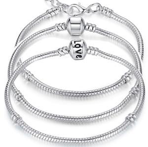Charm Armbänder 925 Sterling Silber 3mm Schlangenkette Fit Pandora Charms Bead Armreif Armband Modeschmuck DIY Geschenk für Männer Frauen