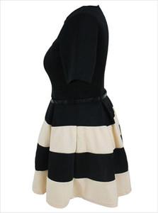 امرأة سمينة ، XL ، خطوط ملونة مزدوجة ، عنق دائري ، كم قصير ، حزام مرن ، تنورة مظلة ، فستان الأميرة 22806