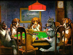 Cassius Marcellus Coolidge A Friend In Need,Handpainted HD Print Wall Art Animal oil painting dogs playing poker Multi Custom Size  Frame A1