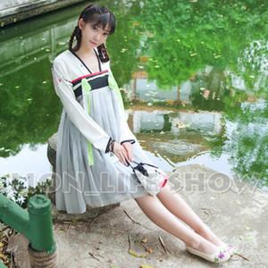 Wholesale-Chinese Tang Dynasty Ruqun Hanfu Women Lolita Long Sleeve Chiffon Dress 2pcs 2 model wear