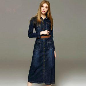 50 unid Otoño nueva moda mujeres denim dress casual suelta manga larga camiseta vestidos más tamaño envío gratis
