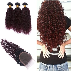 Malaysian Wine Red Ombre Virgin Hair Wefts with Top Closure Kinky Curly 1B 99J Burgundy Ombre 4x4 Lace Front Closure with 3Bundles