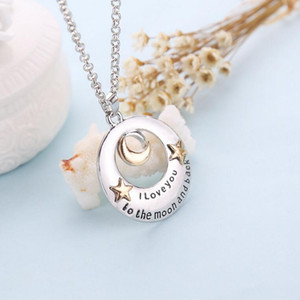 The new 2016 summer I Love You series Valentine's gift love heart moon star necklace jewelry