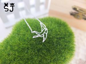 10 UNIDS-N047 Oro Plata Encantadora Flying Swallow Collar Gorrión Collar de Papel Origami Bird Collares Lindo Dove Birds Collar