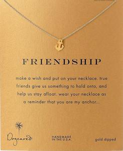 Anchor Friendship Dogeared Necklace (Friendship) Joyería noble y delicada Collar con dijes de oro de 18 quilates Mejor amigo Regalo de cumpleaños