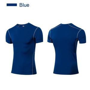 Sıkıştırma gömlek erkekler vücut geliştirme taban katmanı Kas fitness üst shapwear Kısa kollu fanila slim fit spor salonu için