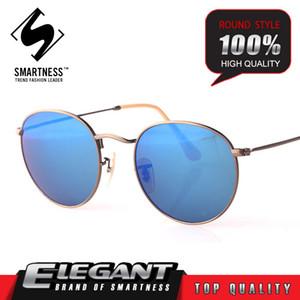 Hot Brand Designer 03447 Round Top in lega di titanio riflettente Occhiali da sole Uomo Donna UV400 Protezione Full Frame Occhiali da sole rosa con custodia