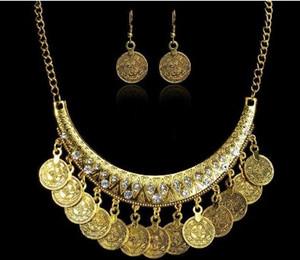 Vintage Coin Jewelry Set Mujeres Retro Nacional de plata antigua chapado en oro Rhinestone Decorado Collar Pendiente Sets
