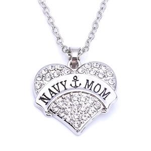 Collar de cadena de trigo con colgantes en forma de corazón con cristales brillantes de NAVY MOM