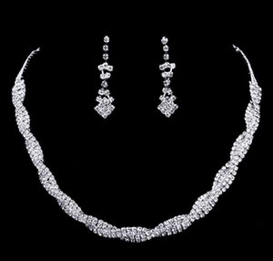 Women Sparkling Rhinestone Crystal Necklace Earrings Set Charm Wedding Bridal Jewelry Set charms jewelry free shipping