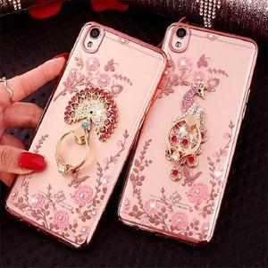 Bling Holder caso della copertura del diamante TPU del telefono di cristallo con l'anello Kickstand iPhone per 12 11 Pro Max X Xr Xs Max 8 7 Plus Samsung Note20 S20 S10