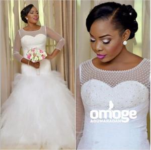 2017 Délicates Afrique Tulle À Manches Longues Robes De Mariée Blanches Avec Des Perles Pleats Puffy Longues Robes De Mariée