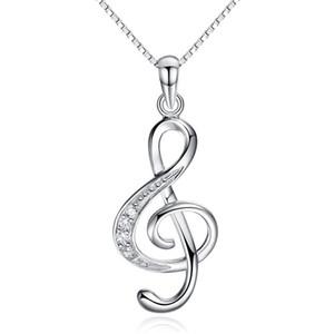 925 Sterlingsilber necklces Kristallschmucksachemusiknoten-Diamantanhänger-Anordnungshalskette, die neue Ankunft der Weinlese wedding ist