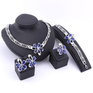 Moda Dubai Beads oro / plata cristal plateado collar pendientes anillo de la pulsera conjuntos de joyas para la novia del banquete de boda de las mujeres