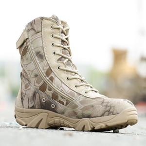Hommes en plein air chasse Bottes hautes Automne Hiver Bottes en cuir imperméable à l'eau Desert Safty Work Shoes Combat Bottines