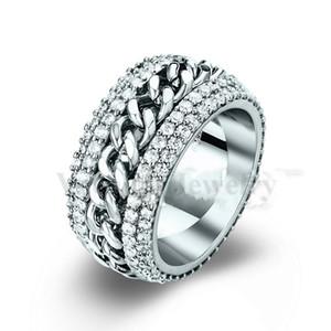 Vecalon Rotation anneau femmes hommes bijoux 240pcs diamant simulé Cz 925 argent sterling amant amoureux mariage anneau anneau