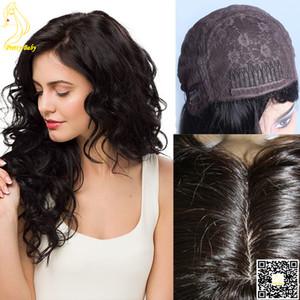 """Mejor peluca judía Top de seda para el cabello humano Ninguno Peluca de encaje Peluca peruana de cabello humano peruano con cuero cabelludo natural 4 """"X4"""" Top de seda"""