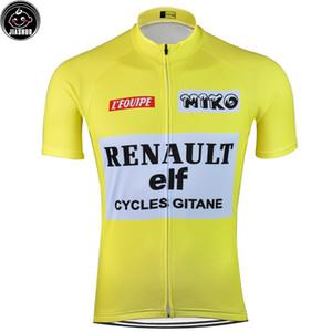 Rétro classique NOUVEAU Mountain Road Yellow RACE Bike Team Pro Cycling Jersey / Chemises Hauts Vêtements respirable JIASHUO