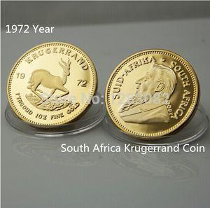 1972 Jahr Südafrika Krugerrand Coin + NO COPY, Wholesale 20pcs / lot Freies Verschiffen Gold plattierte runde große Andenkenmünze