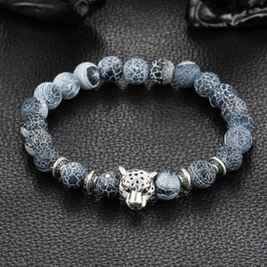 Wholesale-Wholesale Antique Silver Plated Buddha Leopard head Bracelet Lava Natural Stone Beaded Bracelets For Men Women Pulseras Hombre