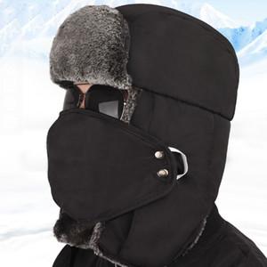 Урожай зима хлопок меховая шапка бомбардировщик шляпы для мужчин женщин согреться наушник сгущаться Балаклава череп лыжные шапки с маской унисекс Траппер шляпы