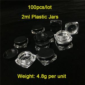 100 Pies / Lote baratos 2 ml / 2g Tapas Redondas Redondas Contenedores de Plástico de Base Cuadrada Tarros de Humo Al Por Mayor Envases De Cera De Plástico En Oferta Envío Gratis