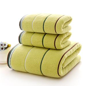 Nueva Moda (3pcs / Lot) toalla de baño Set 1 * 70cm * 34cm * 140cm 2 * 74cm 100% algodón Toalla de baño piezas de este conjunto toalla de cara al por mayor 6 Colores