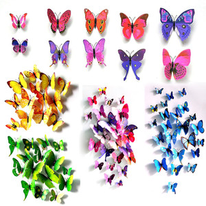 Külkedisi kelebek 3d kelebek dekorasyon duvar çıkartmaları 12 adet 3d kelebekler 3d kelebek pvc çıkarılabilir duvar çıkartmaları kelepçeleri stokta