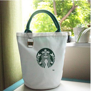 대형 스타 벅스 캔버스 토트 백 핸드백 배럴 모양의 어깨 ECO (11 개) 스타일 쇼핑 가방 점심 가방